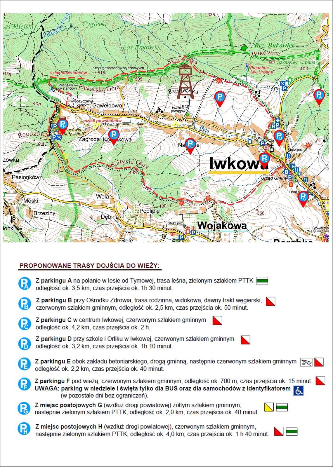 mapa - szlaki piesze do wieży widokowej