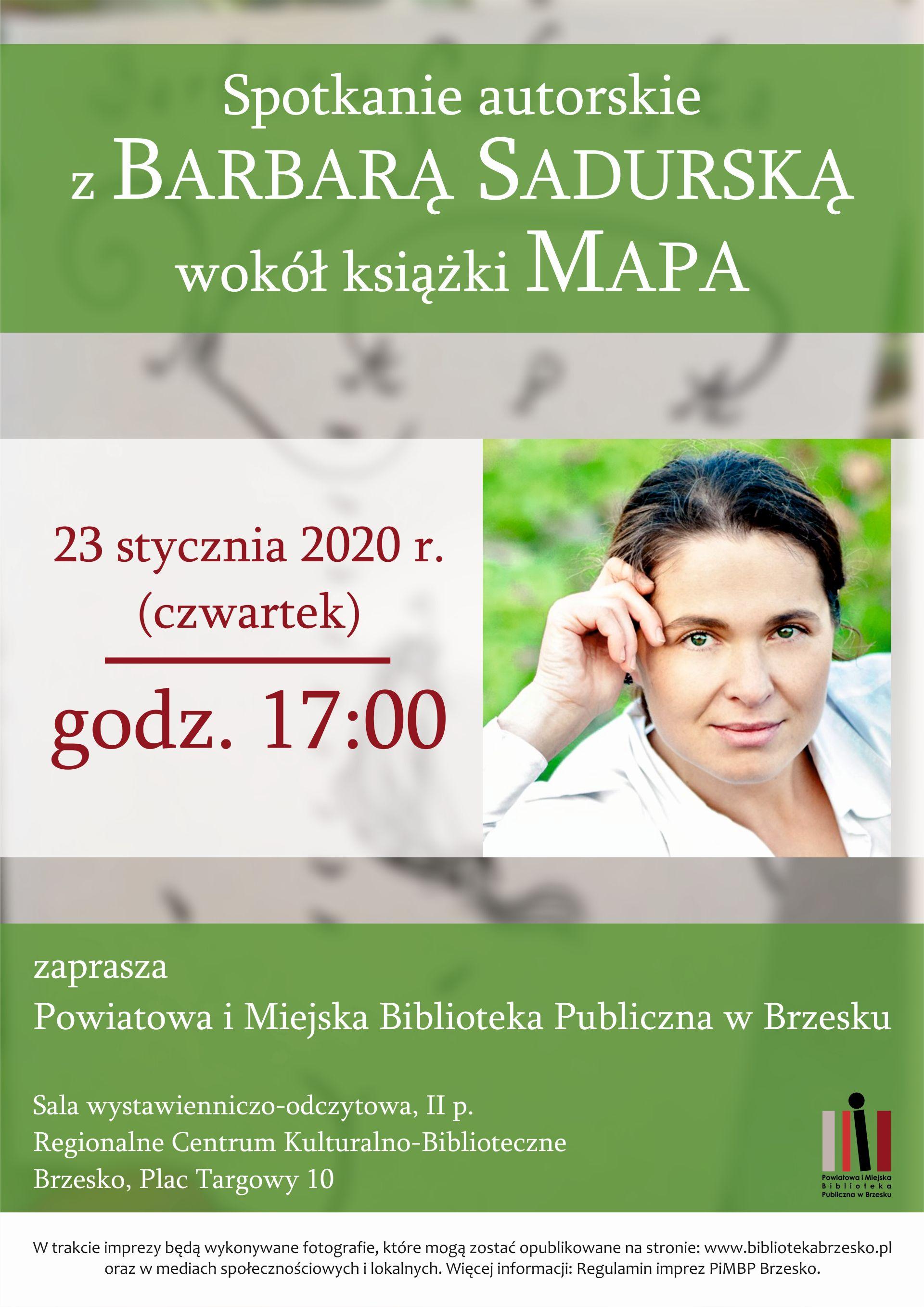 plakat promujący spotkanie autorskie z Barbarą Sadurską